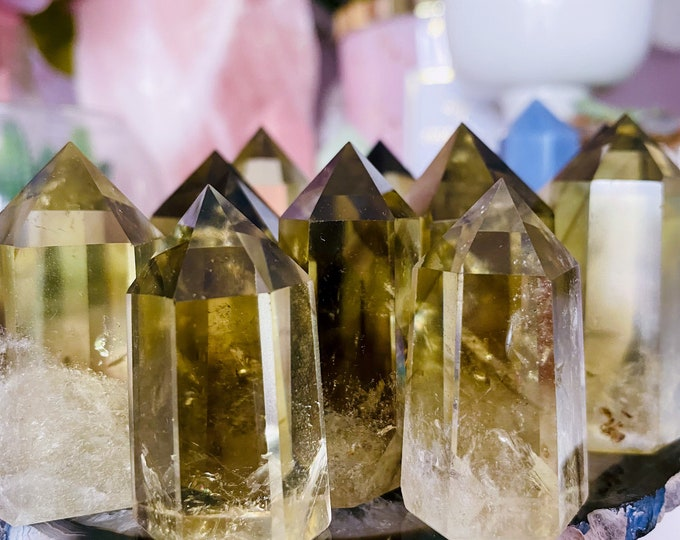 Natural Citrine Crystal Points With Smokey Phantom / The Money Stone, Great For Business Owners / The Happy Stone For Joy Abundance & Wealth