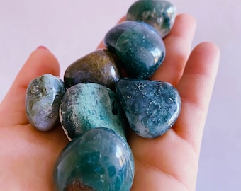 Green Moss Agate Large Crystal Tumblestones / For New Beginnings / Refreshes The Soul / Improves Self Esteem / Reduces Depression