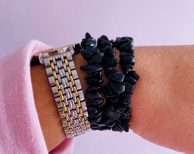 Black Obsidian Crystal Chip Bracelets / Blocks Negativity / Absorbs Tension & Stress / Grounding / Super Protective / Reduces Anger