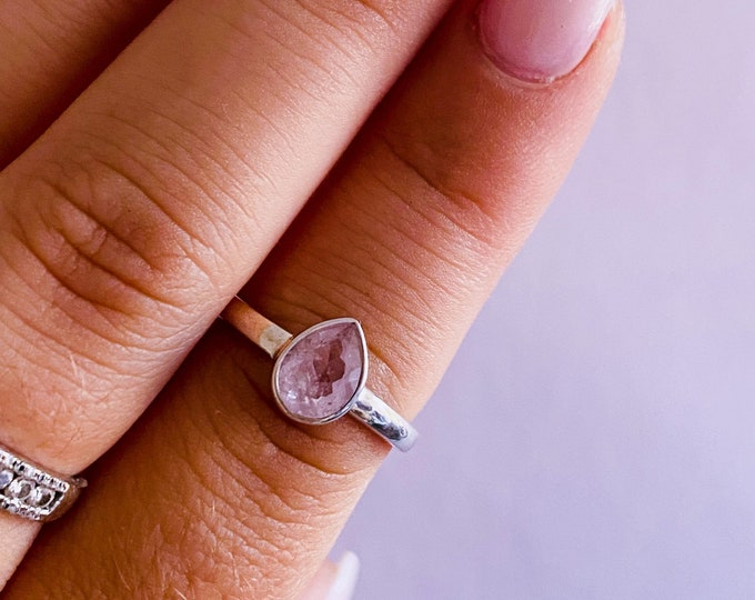 Sterling Silver Faceted Morganite Crystal Ring Size P / Unconditional Love / Cleanses, Activates Heart Chakra / Eases Emotional Trauma