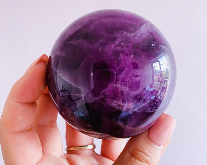 Rainbow Fluorite Purple 70mm Crystal Sphere / Absorbs Anxiety, Stress, Tension / Concentration / Good For Exams, New Job, Course Work