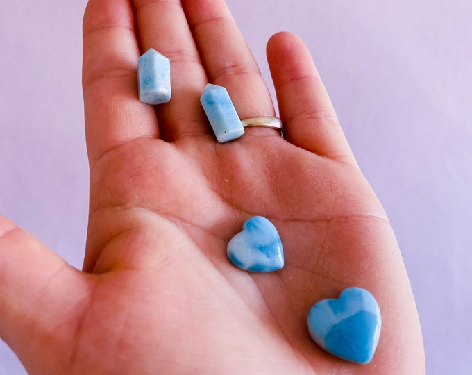 Larimar Grade AA Crystal Miniature Hearts & Towers / Relaxing + Calming Atmosphere / Good For New Mums, Post Natal Depression / Helps Fear