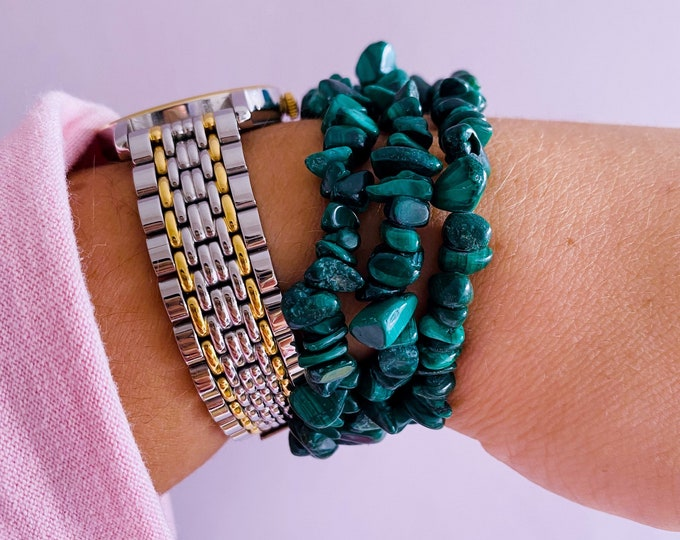 Malachite Crystal Chip Bracelets / Removes Negative Energy / Manifesting Intention Setting Crystal / 'The Crystal Of Transformation'