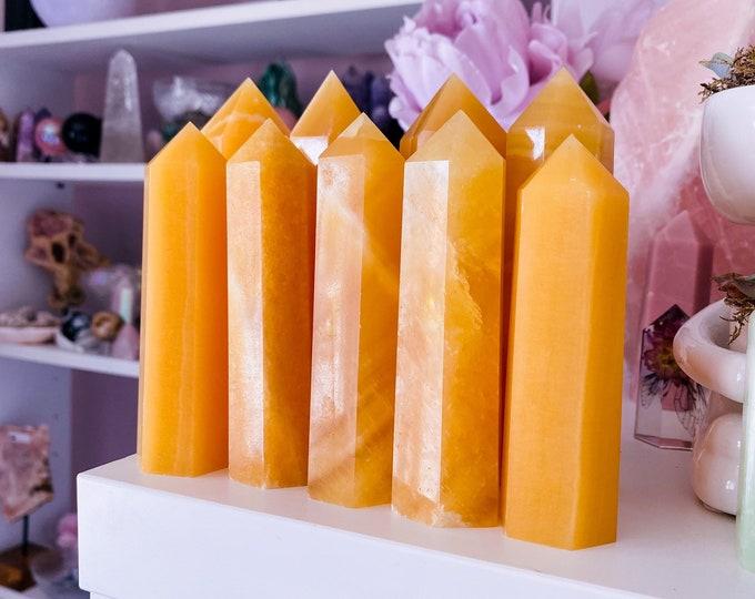 Juicy Orange Calcite Crystal Towers / Heals Past Life Trauma & Depression / Removes Fear / Awakens Psychic Abilities / Balances