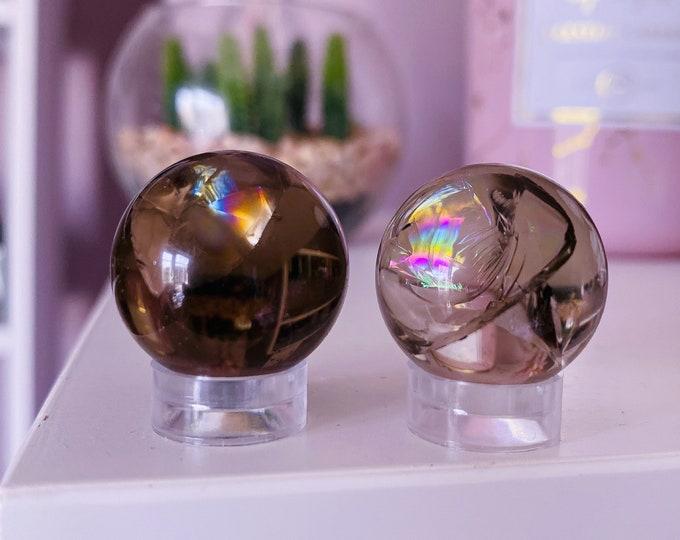 High Grade Smokey Quartz Small Crystal Spheres / Neutralises Negativity, Disspels Depression & Anxiety, Reduces Suicidal Tendancies