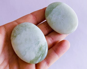 Small Jade Polished Flat Stone Crystals / Brings Good Luck & Wealth / Prevents Illnesses / Brings Calm To Chaos / Increases Love, Trust