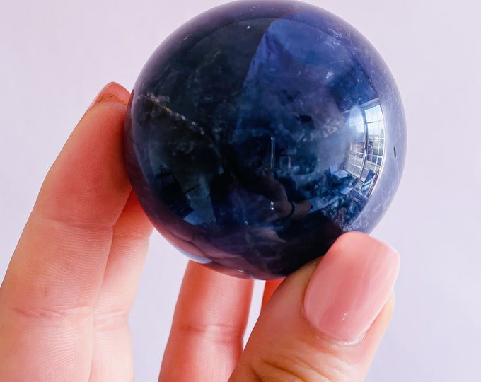 Rainbow Fluorite 50mm Crystal Sphere / Absorbs Anxiety, Stress, Tension / Concentration / Good For Exams, New Job, Course Work