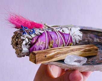 Floral Sage, White Sage, Desert Sage, Palo Santo Trio Smudge Kits / Crystal Cleanser / Removes Negative Energies / Cleanse Your Home