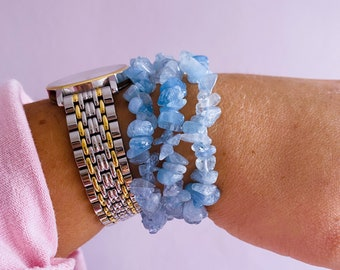 Grade AA Aquamarine Crystal Chip Bracelets / Boosts Courage / Reduces Stress & Encourages Calmness / Discourages Miscarriage / Protects Baby