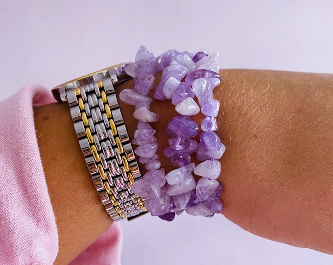 Lavender Amethyst Crystal Chip Bracelets / Great Healer, Good For Anxiety & Claming / Good For Sleeping Troubles / Great For Migraines