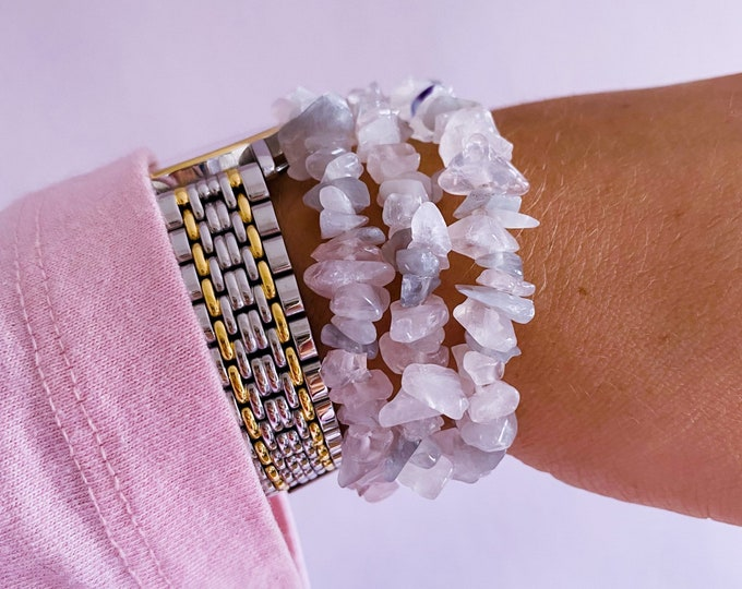 Lunar Rose Quartz Unique Crystal Chip Bracelets / Encourages Self Love, Unconditional Love & Reduces Anxiety / The Crystal Of Love
