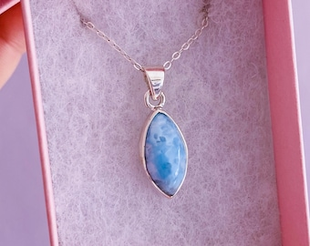 """Sterling Silver Larimar 18"""" Crystal Necklace / Encourages Relaxing, Calm Atmosphere / Good For New Mums & Post Natal Depression / Helps Fear"""