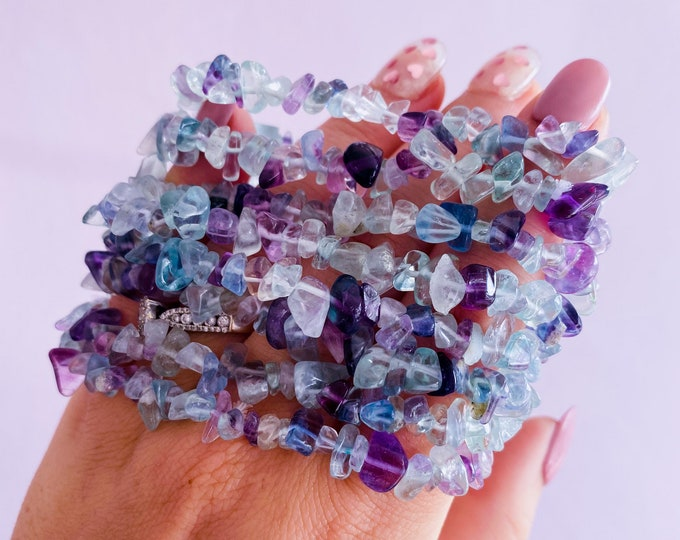 Rainbow Fluorite Crystal Chip Bracelets / Absorbs Anxiety, Worry, Stress & Tension / Aids Concentration / Good For New Job, Uni