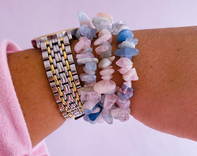 Morganite + Aquamarine Crystal Chip Bracelets / Crystal Of Unconditional Love / Cleanses, Activates Heart Chakra / Eases Emotional Trauma