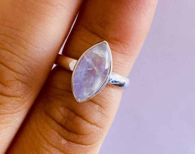 Sterling Silver Rainbow Moonstone Crystal Ring Size L / Improve Inner Confidence / Allows Us To See More Clearly / Life Changing Inspiration