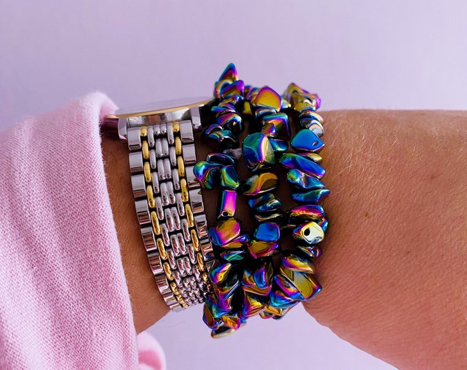 Rainbow Hematite Crystal Bracelets / Dissolves Negativity / Calms The Mind & Instils Inner Peace / Aids Concentrations / Links With Angels