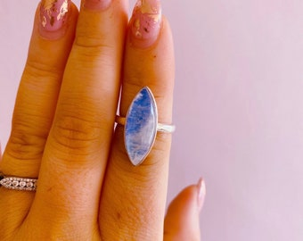 Sterling Silver Blue Moonstone Crystal Ring Size N / Improves Inner Confidence / Allows Us To See More Clearly / Life Changing Inspiration