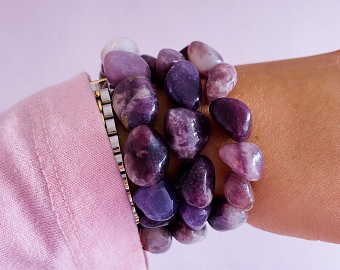 Chunky Lepidolite Anxiety Crystal Bracelets / Mood Stabiliser, Increases Tranquility & Calmness During Stress / Helps Reduce Anxiety