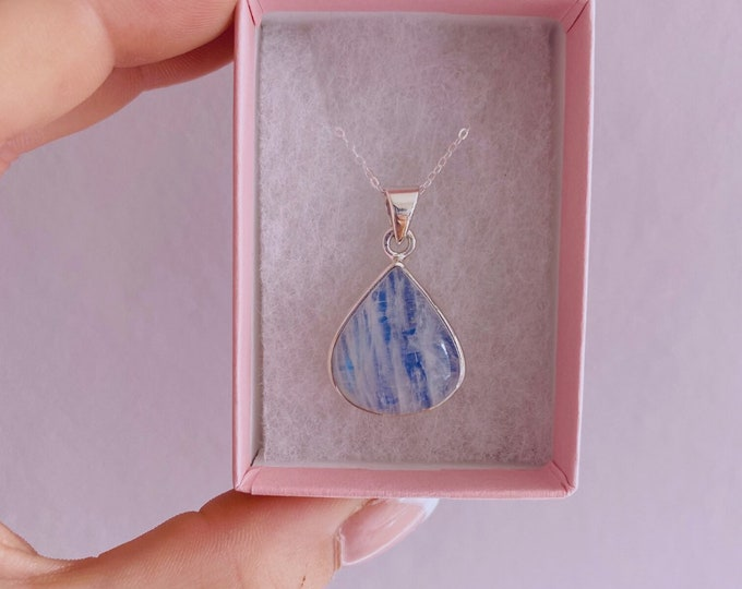 """Sterling Silver Blue Moonstone Crystal 18"""" Necklace / Improves Inner Confidence / Allows Us To See More Clearly / Life Changing Inspiration"""