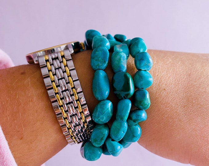 Chrysocolla Crystal Tumblestone Bracelets / Allows Truth To Be Spoken & Heard / Brings Out Your Inner Goddess / Helps Rocky Relationships