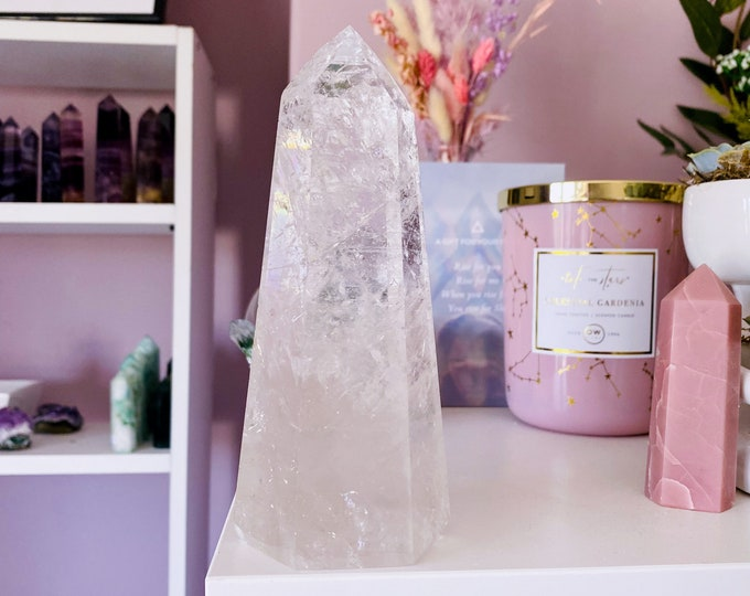 Large Clear Quartz Crystal Tower Rainbow Filled / 'The Master Healer' / Amplifies Intention & Energy / Protects Against Negativity