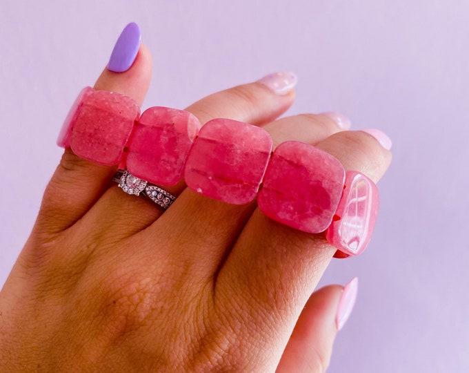 High Grade Rhodochrosite Chunky Crystal Bracelet / Encourages Positivity & Joyfulness / Reduces Depression, Emotional Stress