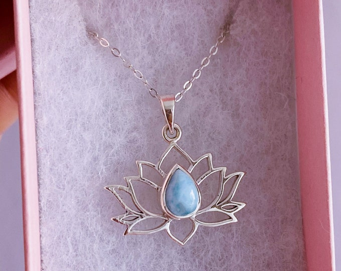 """Sterling Silver Larimar 18"""" Lotus Flower Crystal Necklace / Encourages Relaxing, Calm Atmosphere / Good For New Mums & Post Natal Depression"""