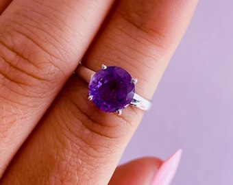 Faceted Amethyst Sterling Silver Crystal Rings / Choose Your Size / Increases Spirituality, Eases Anxiety & Stress / Highly Protective