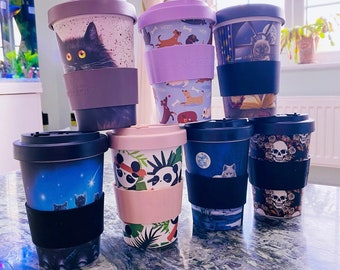 Natural Bamboo Travel Cup Mug / Re-Useable Eco Friendly Bamboo Travel Mug / Travel Cup / Cat Cup, Cat Mug / Witch Cup, Panda Mug, Cat Mug