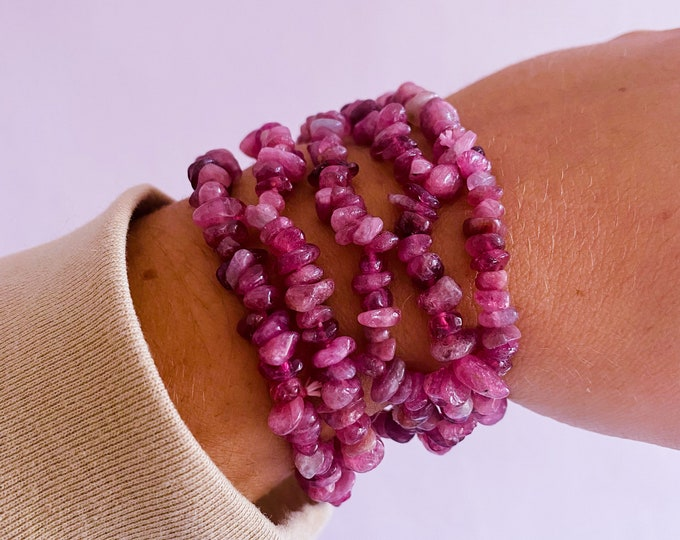 Pink Tourmaline Rubellite Crystal Chip Bracelets / Encourages Love, Compassion, Calmness, Gentleness, Spirituality / Helps With Puberty