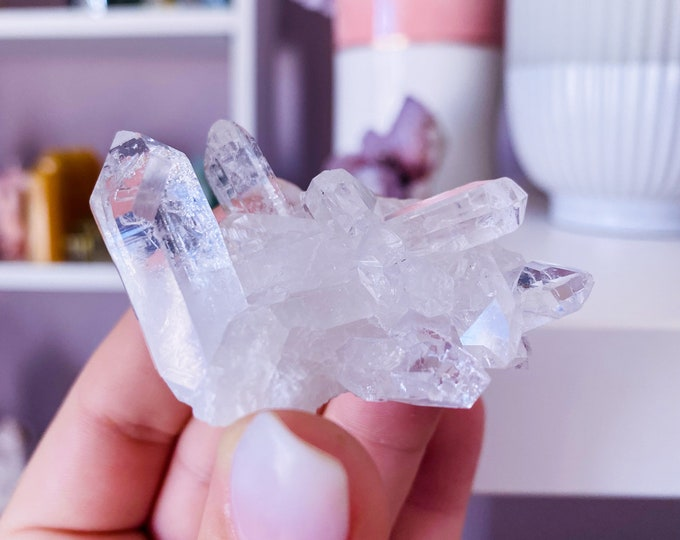 2) Small Clear Quartz Crystal Cluster / Must Have Crystal / 'The Master Healer' / Amplifies Intention & Energy / Protects Against Negativity