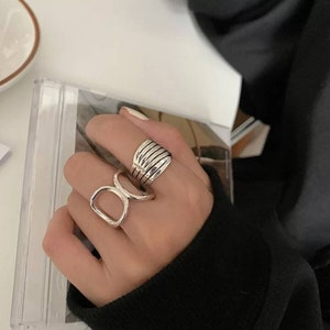 925 Gold Ring Minimalist Ring Stacked Ring Signet 925 Silver Ring Bar Band Ring Simple Silver Bands Simple Gold Bands Stackable Ring