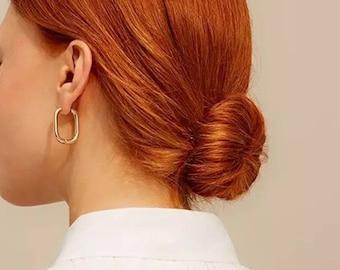 Paperclip Earrings, Hoop Earrings, Oval Hoop Earrings, Oval Square Earrings, Square Hoop Earrings, Gold Hoop Earrings, Silver Hoop Earrings