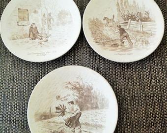 3 talking plates Sarreguemines