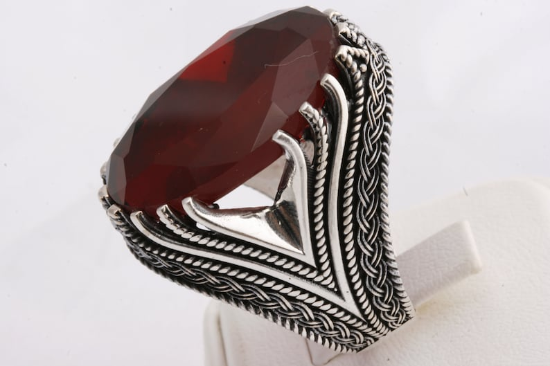 Classic Ring new Ottoman Sultan Style 925 Sterling Silver Garnet Gamstone Ruby  Stone  Men/'s Ring