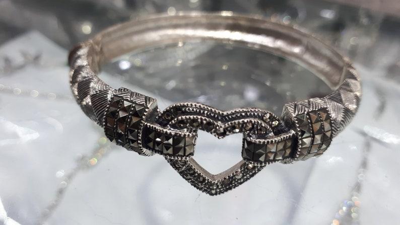 Heart Ottoman Heart Bracelet Margazite Topaz Stone Turkish Handmade 925 k Sterling Silver Bracelet sterling silver 925 k,