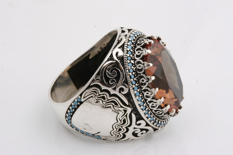 go Ottoman Sultan Style 925 Sterling Silver Alexandrite Stone and Turquoise Stone Men/'s Ring Power Ring