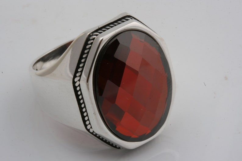 Ottoman Sultan Style 925 Sterling Silver Ruby Stone Men/'s Ring Power Ring Size 9