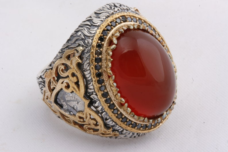 New  Ottoman Sultan Style 925 Sterling Silver Agate  Stone Men/'s Ring Power Ring