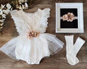 Infant Girls Boho Romper/Cake Smash-1st Birthday/Baptism Romper