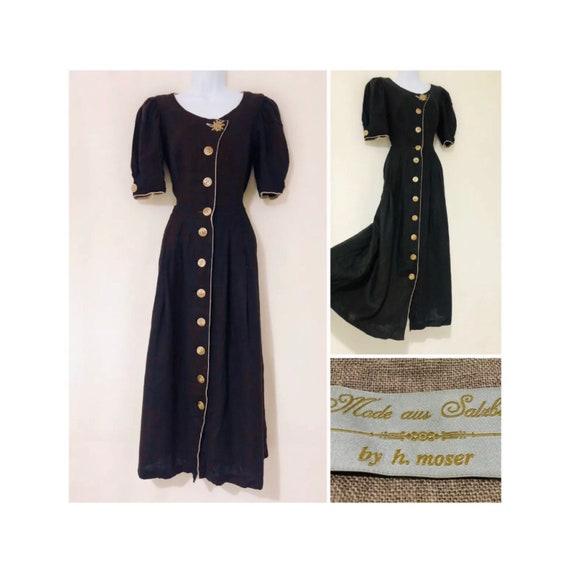 Vintage Dress Size 10 Retro Prairie Long Linen Bro