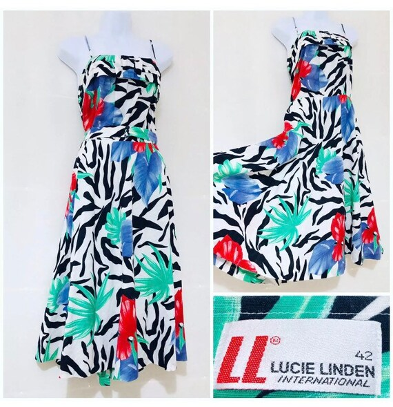 Vintage Dress Size 12 14 Bohemian Floral Swing Luc