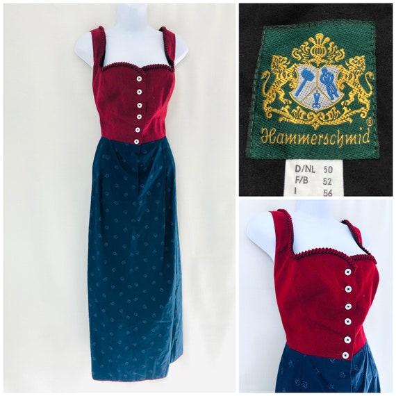 Vintage Dress Size 18 20 Blue Red Dirndl German Pr