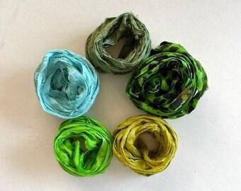 5 Color Sari Silk Sampler - Recycled Sari Ribbon - 5 Shades of Green, 2 Yds Each, 10 Yds Total, Scrapbooking Ribbon