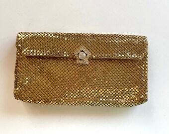 Vintage Gold Mesh Clutch - Gold Mesh Handbag - Whiting & Davis Handbag - Vintage Ladies Accessories