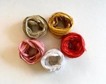 5 Color Sari Silk Sampler - Recycled Sari Ribbon - 5 Warm Colors, 2 Yds Each, 10 Yds Total, Scrapbooking Ribbon