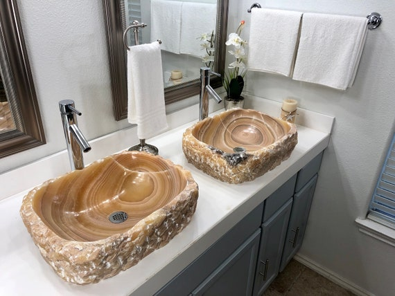 2 Natural Stone Bathroom Vessel sinks rustic onyx marble stone