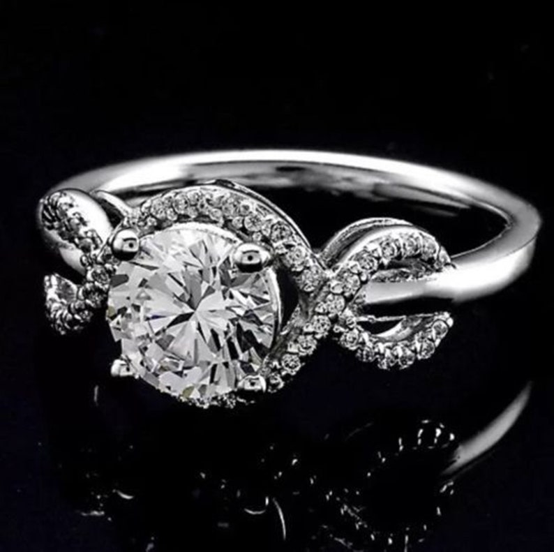 2.00 Ct White Round Moissanite Twisted Ring Halo Engagement Ring Criss Corss Ring With 10KT White Gold In Size 7 US