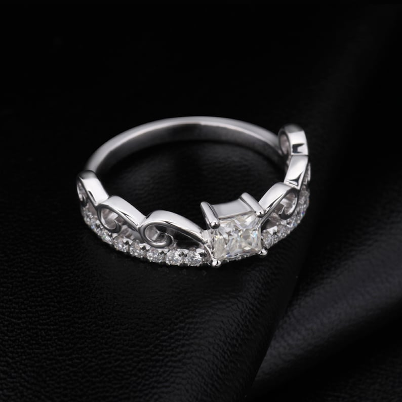 1.20 Ct White Princess Solitaire Engagement Ring in 18KT White Gold,Moissanite Diamond Wedding Ring Unique Promise Ring Beautiful Ring