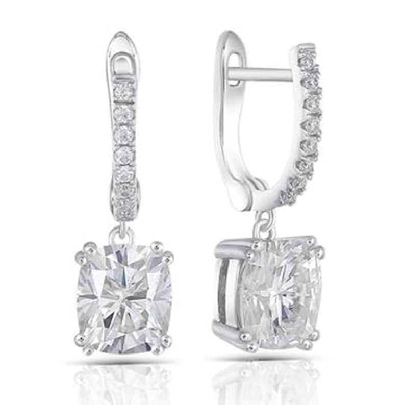 Stud Earrings Drop-Dangle Earrings 2.30 Ct Colorless Cushion Cut Moissanite Wedding Earrings in 18KT White Gold